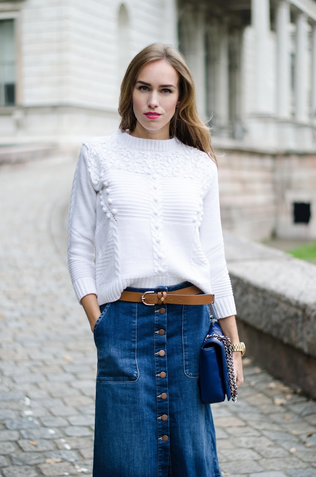 kristjaana mere white jumper denim button front midi skirt fall outfit