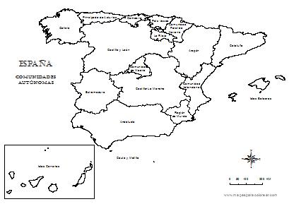 Mapa De España Colorear.Laminitas Para El Calendario Escolar Slats For School
