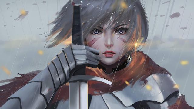 Mulher Guerreira com Espada, hd, 4k.