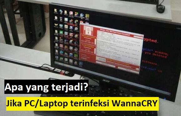 Apa yang terjadi jika PC/Laptop terinfeksi WannaCRY