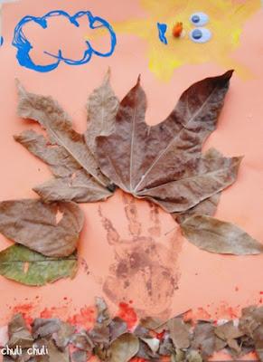 este es el mural de otoño que hizo mi pequeño mario. se lo pasó pipa jugando a pintar y dibujar.