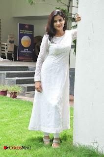 Actress Dolly Tomar Pictures in White Salwar Kameez at Deccan Film Society Launch  0023