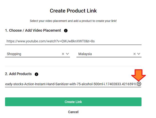 Paste link product tersebut di bahagian Add Products dan kemudian tekan button +