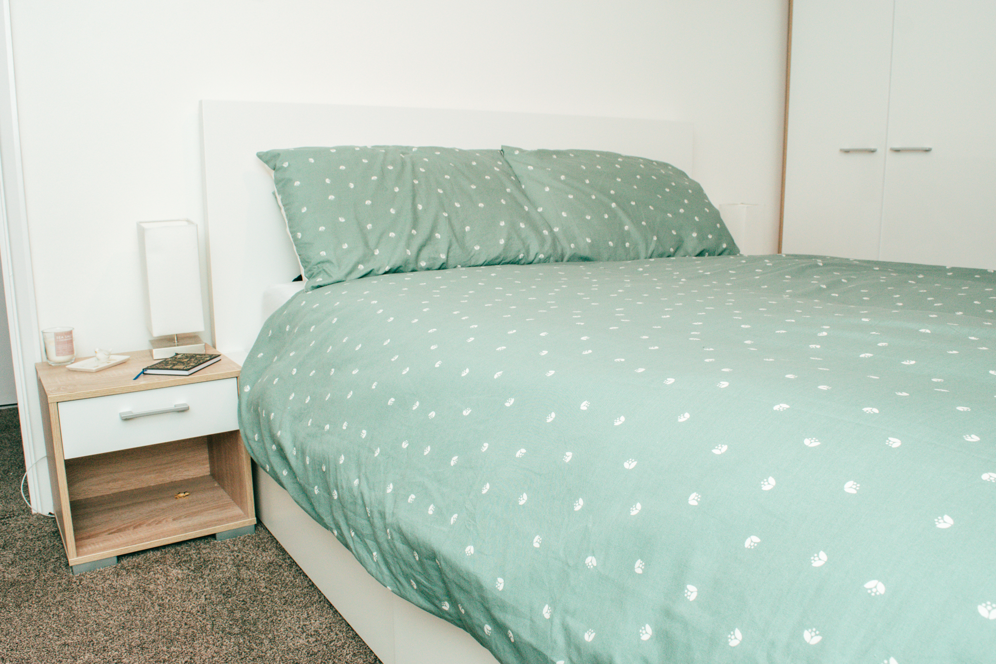 Ikea Malm Bed Frame with Sage Green Duvet