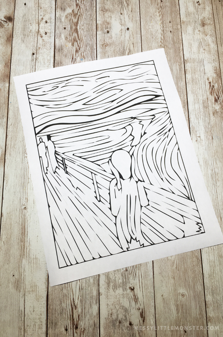 Edvard Munch The Scream Printable template colouring page