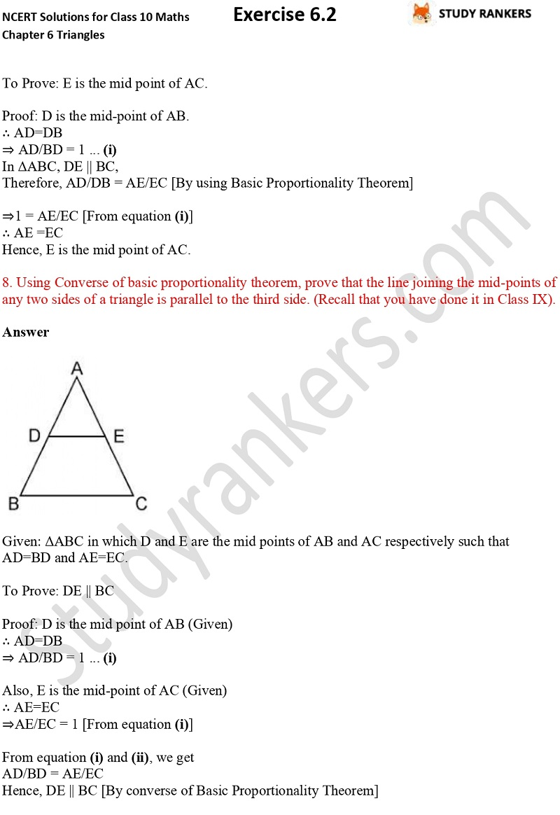 NCERT Solutions for Class 10 Maths Chapter 6 Triangles Exercise 6.2 Part 5