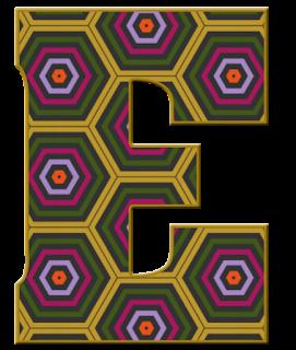 Abecedario con Hexágonos de Colores. Alphabet with colored Hexagons.