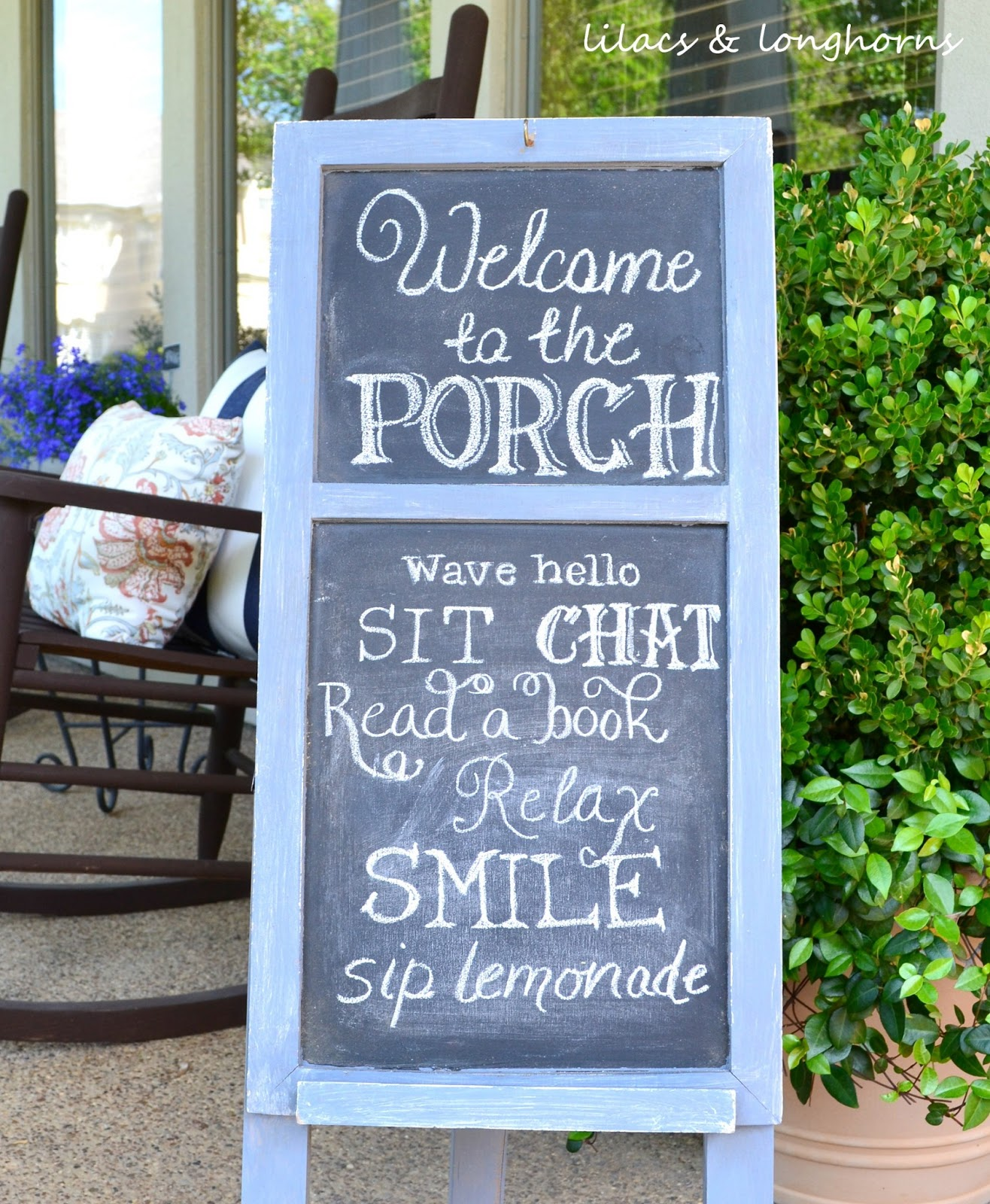 Front Porch Chalkboard Sign Update Lilacs And