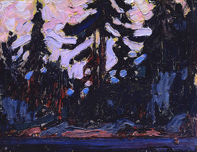 a Tom Thomson painting in purples
