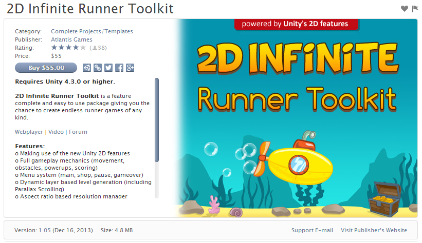 Free Assets for Unity 3D Engine : 2D Infinite Runner Toolkit