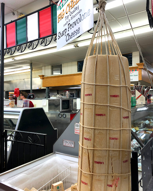 Enormous section of provolone at Tenuta's Deli in Kenosha, WI