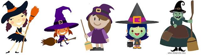 Moldes de feltro de bruxinhas para Halloween