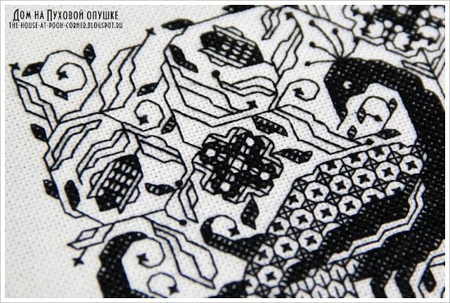 Вышивка черно-белая монохром