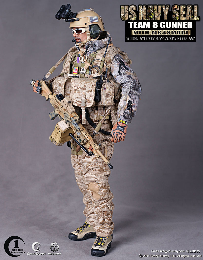 MY LOVE 4 TOYS: CrazyDummy 1/6 US NAVY SEAL TEAM 8 GUNNER with MK48MOD1