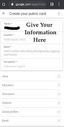 Google people card information