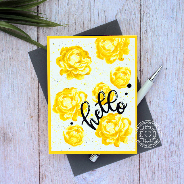 Sunny Studio Stamps: Layered Flower Hello Card by Vanessa Menhorn (using Captivating Camellias Stamps & Slimline Scalloped Frame Dies)