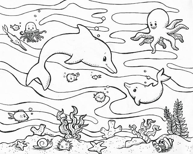 Gambar Mewarnai Binatang Laut - 5