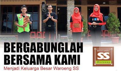 "Info Lowongan Waroeng Spesial Sambal ""SS"" adalah sebuah merk yang menyajikan aneka sambal segar dan masakan khas Indonesia. Waroeng SS didirikan pada tahun 2002 di Yogyakarta oleh Yoyok Hery Wahyono. Saat ini sedang membuka lowongan dengan posisi yang dibutuhkan sebagai berikut"