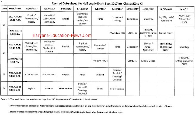 image : Haryana Half Yearly Test Revised Date Sheet (Sept. 2017) Class 9th to 12th @ Haryana Education News