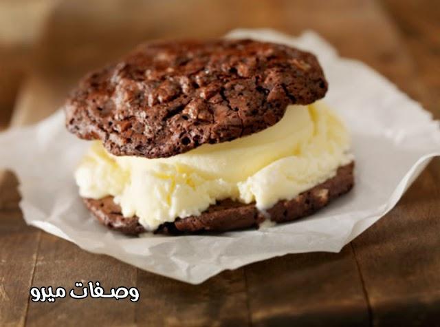 طريقة عمل قالب الكوكيز بالشوكولاتة والآيس كريم