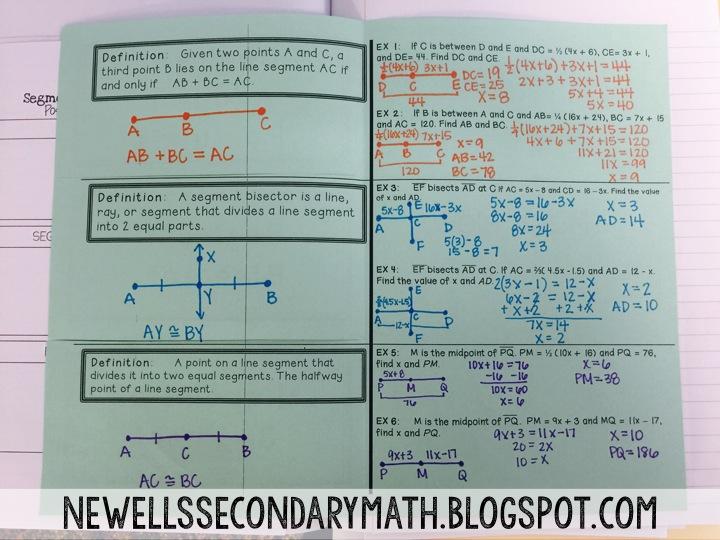 Segments Foldable & Activity | Mrs. Newell's Math
