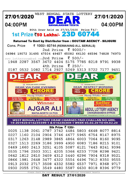 Lottery Sambad 27.01.2020 West Bengal Lottery Result 4 PM