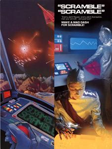 Imagen con la publicidad del videojuego de disparos espaciales Scarmble, Konami, 1981. La imagen muestra a unos pilotos estelares manejando los controles de una nave espacial