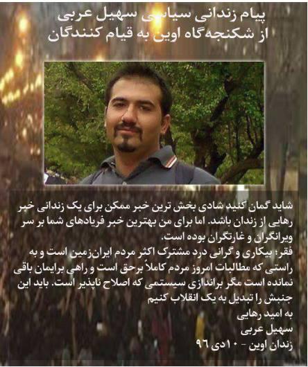 نامه زندانی سیاسی سهیل عربی از زندان مرکزی کرج در حمایت از قیام مردم ایران فرستاده است.