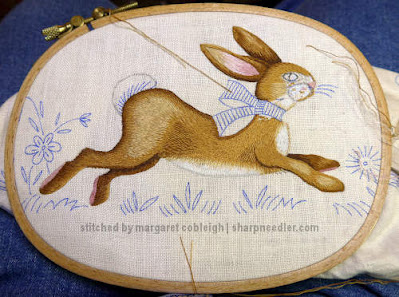 Embroidered Easter Table Runner: Working the bunny's head