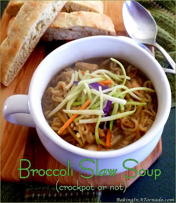 Broccoli Slaw Soup (crockpot or not): full of vegetables, chicken, noodles, and bright flavors, this very thick soup is a whole meal. | recipe developed by www.BakingInATornado.com | #recipe #soup