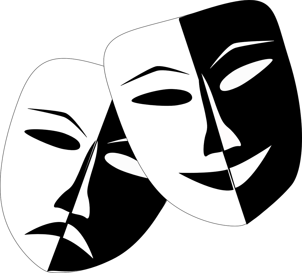 two masks in black and white representing comedy and tragedy to illustrate blog post about war movie comedies