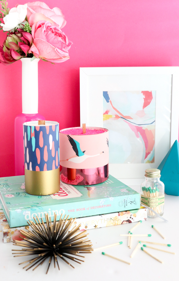 DIY Pattern Wrapped Candles - DIY home decor - craft - wallpaper samples - target style - paper source - flamingo and confetti - candle making