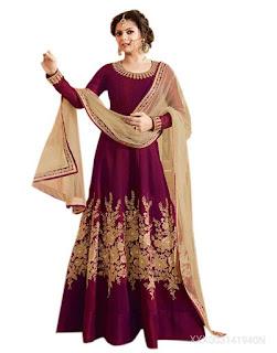 Aika Anarkali Women's  Maroon Salwar Suit