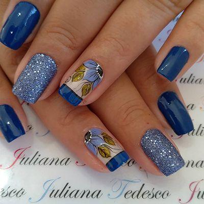 unhas decoradas azuis 5