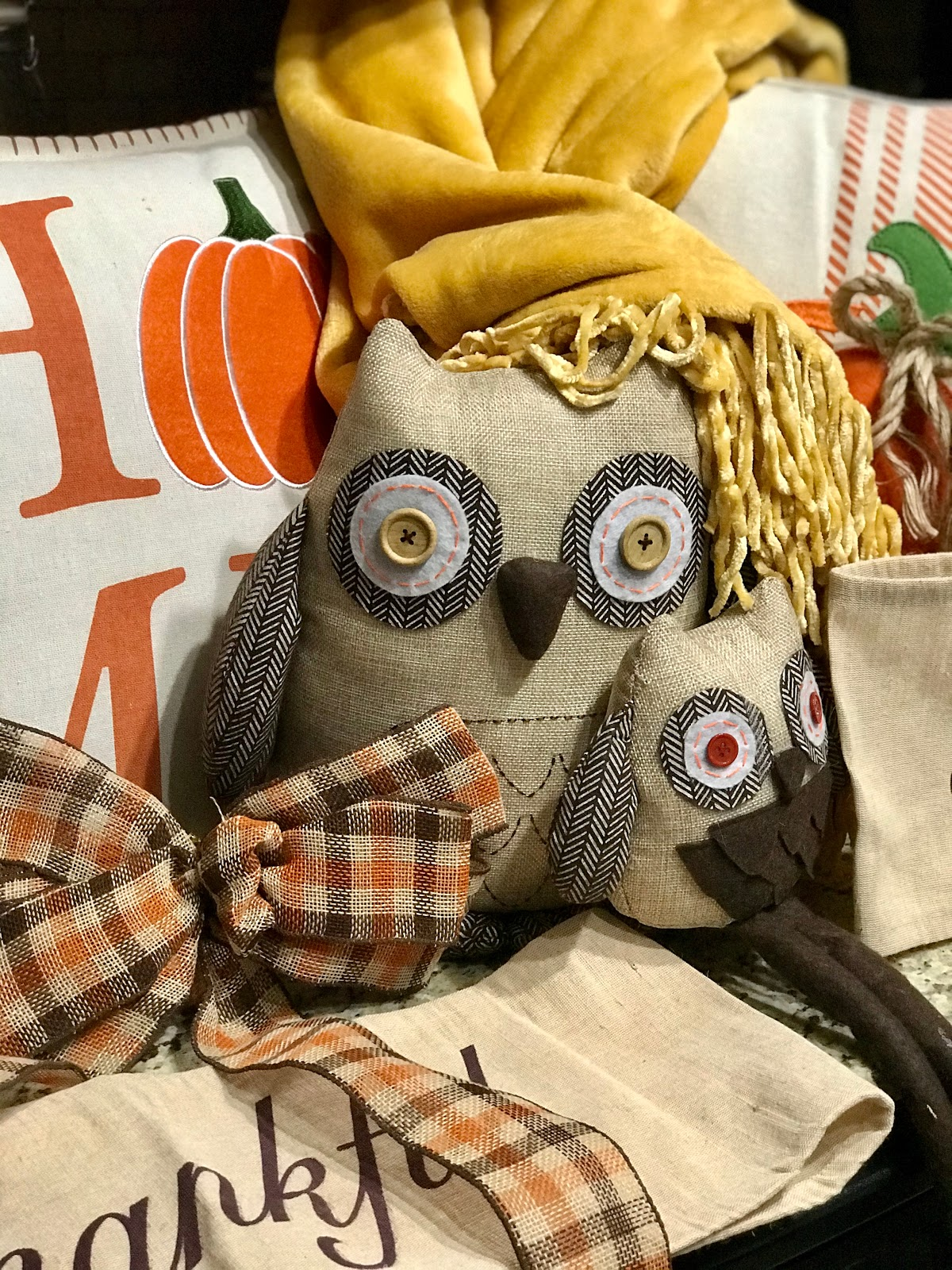 Image: Owl, Yellow Throw Cover, Fall Bow, Fall orange burlap pillows. Seen first on Bits and Babbles Fall Haul. I Guess Owl Get In A Fall Howling Mood!. Traditions