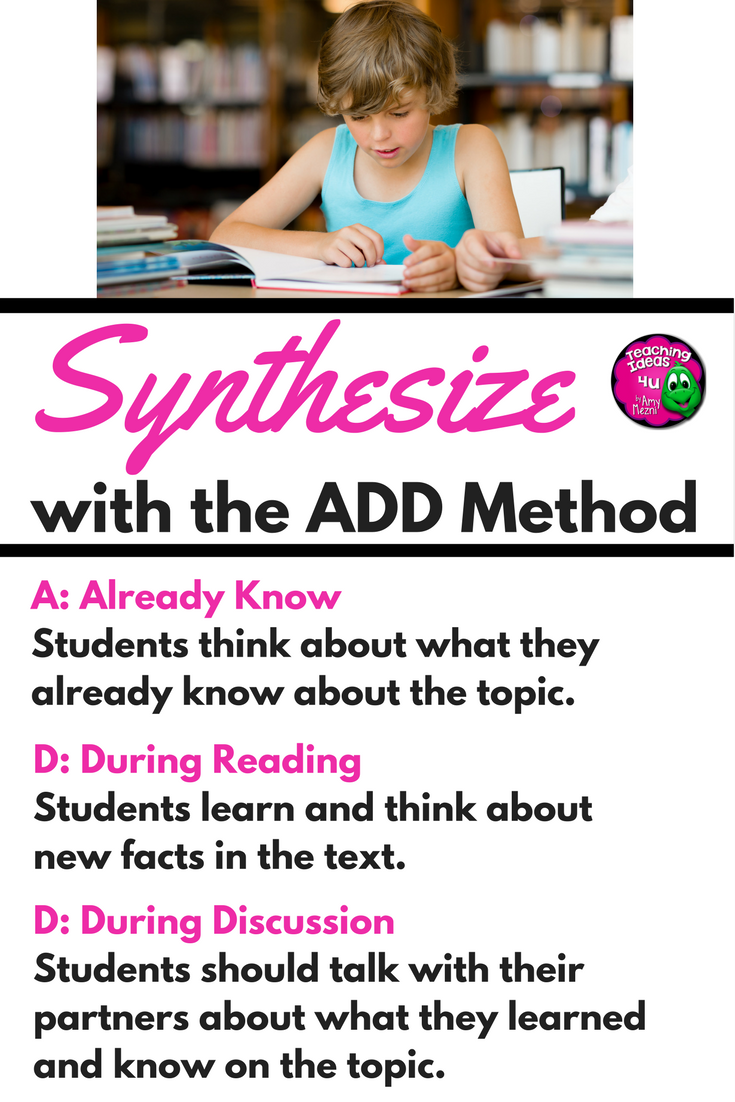 Make Synthesizing Easy with These Simple Strategies - Teaching Resources  and Lesson Plans - Teaching Ideas 4U by Amy Mezni [ 1102 x 735 Pixel ]