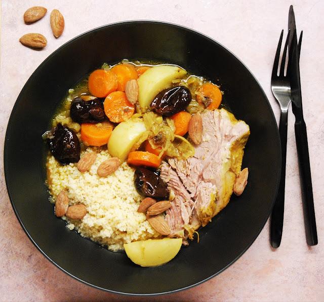 Tajine d'agneau aux carottes, navets et pruneaux
