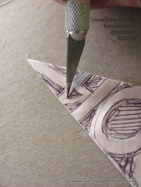 carefully cut into small inner spaces first