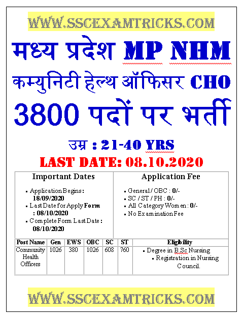 MP NHM Bhopal Health Officer Recruitment