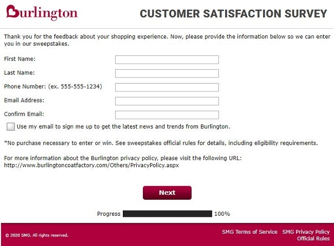 burlington feedback survey