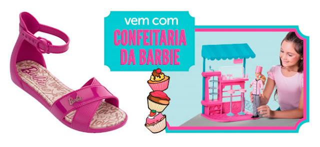 sandalinha + confeitaria da barbie