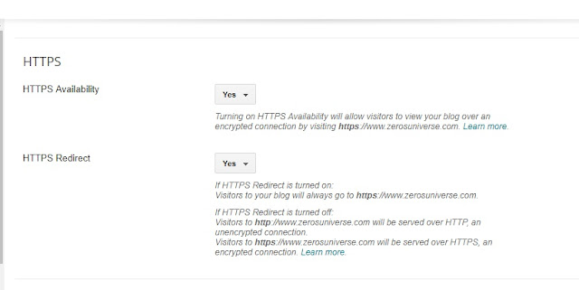 Under HTTPS  Redirect check yes if   you want to redirect all your links from http to https