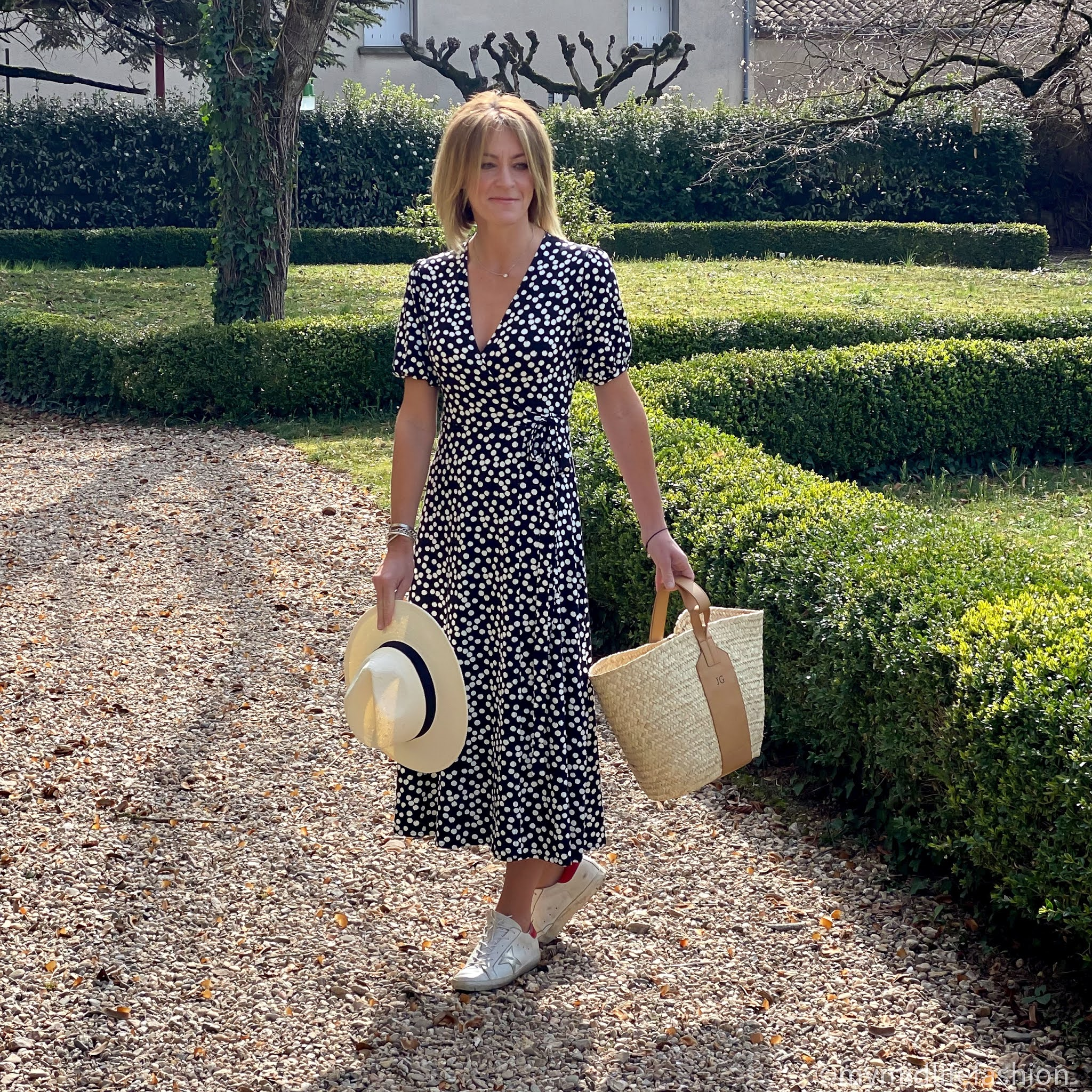 my midlife fashion, baukjen Daniella Dress, rae feather grace monogrammed basket, golden goose superstar low top leather trainers, h and m Panama hat