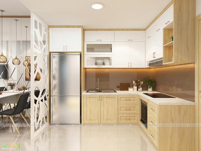 Thiết kế và thi công hoàn thiện nội thất căn hộ chung cư Dreamhome Riverside Quận 8 - Phòng bếp và bàn ăn
