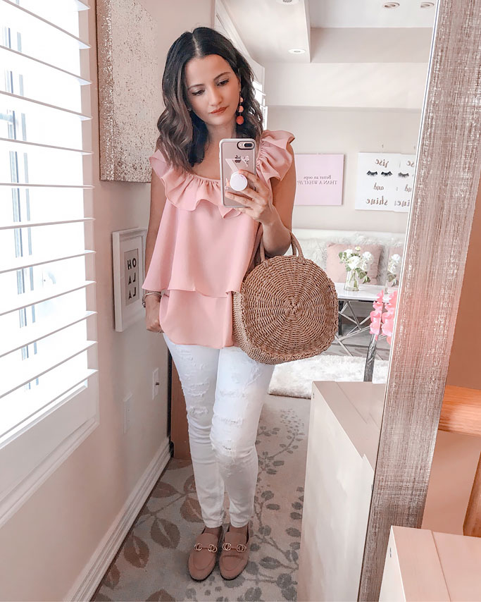 Summer 2018 Cute Summer Blogger Outfit Pink Chicwish Ruffle Top Straw Circle Bag Gucci Dupe Pink Loafers