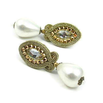 biżuteria ślubna, kolczyki ślubne, sutasz, sutaszowe, soutache, swarovski, perły, sztyfty, do ślubu, PiLLow Design, Małgorzata Sowa, biżuteria sutasz