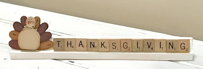 DIY Vintage Thanksgiving sign made with Scrabble tiles