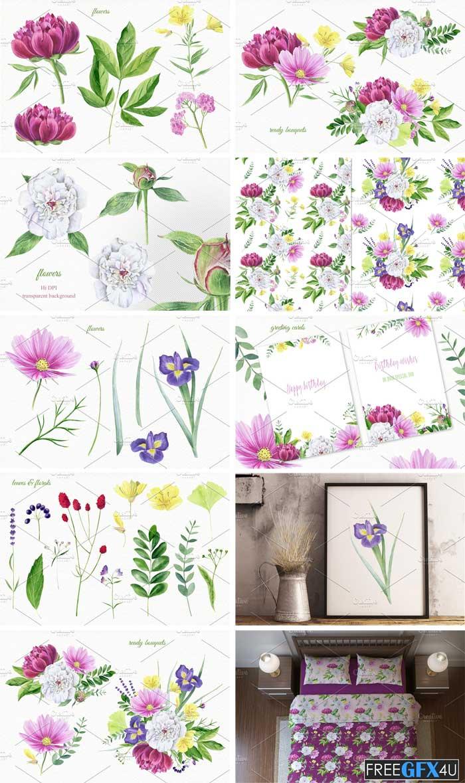 Florals Watercolor Set