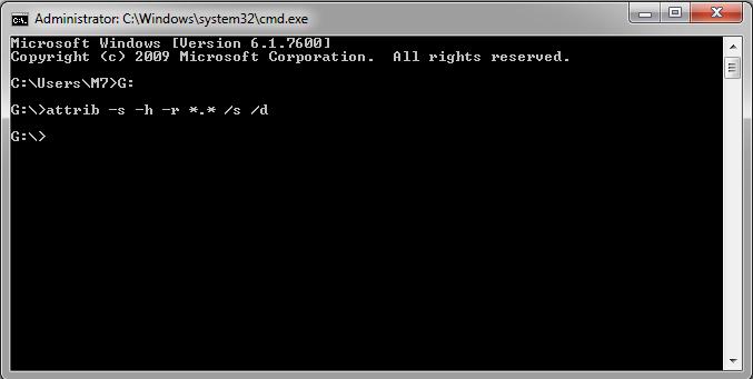 Perintah CMD untuk memunculkan file super hidden oleh virus