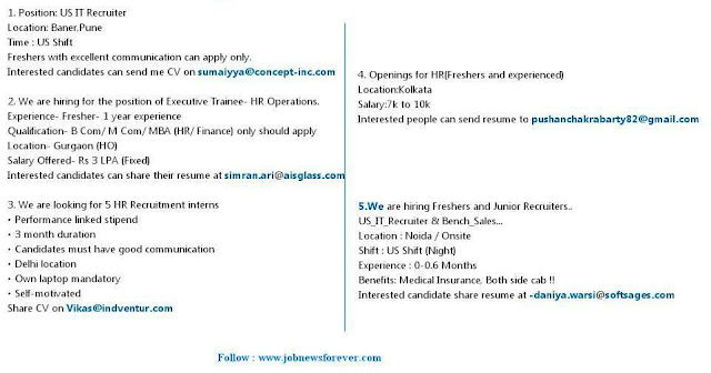 Job Vacancies for HR Executive / Recruiter (Fresher and Experienced) apply here.